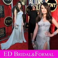 Lea Michele Dress Grey One Shoulder Slit Prom Gown Evening 2012 SAG Awards Red Carpet