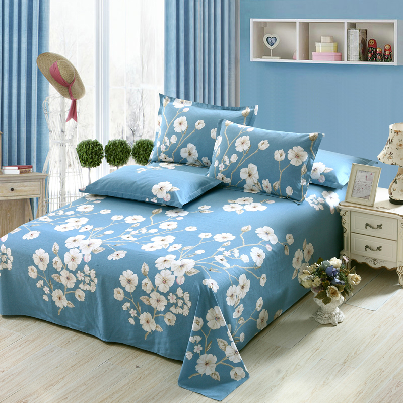 pure cotton bed flat fitted sheet white blue flowers printing twin full queen king size bedding sets pillowcase kid home textile - Kid Sheets