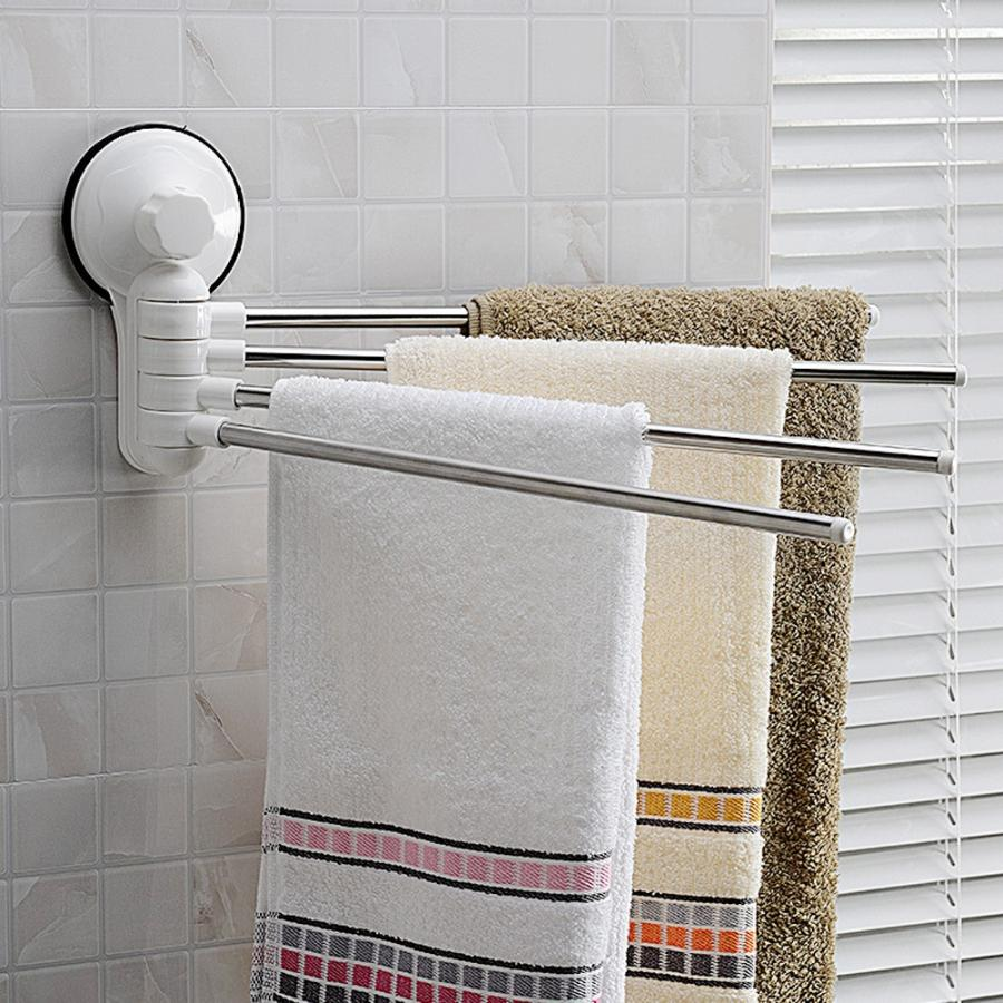 Stainless Steel Movable Towel Rack Arms 4 Pole Rotating Towel Hanging Storage Holder Suction Cup towel bars Bathroom Organizer