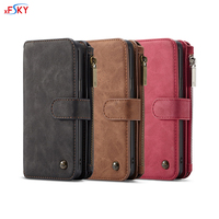 xFSKY 2 in 1 Leather Wallet Case For Galaxy S9 & S9 plus Fashion Phone Bag With Card Holder Stand Strap Magnet Adsorption Cover