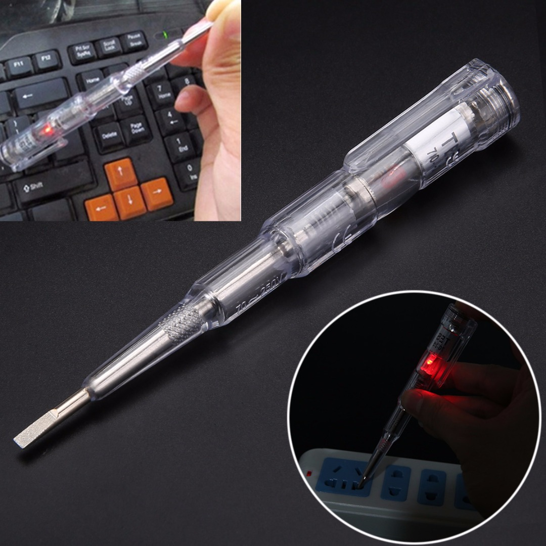 1pc 250V Waterproof Induced Electric Tester Screwdriver Probe With Indicator Light ...