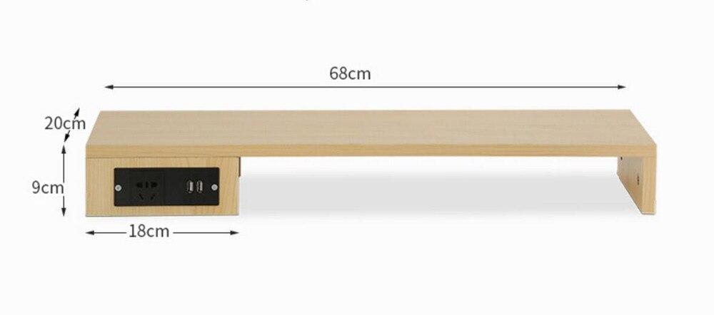 68*20*9CM Multipurpose USB Computer Displayer Rack PC Monitors Support Desktop Rise Shelf With USB