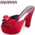 ENMAYER New Silk Pumps Sandals Women Slides Summer Shoes Pumps Slip-On Bow-tie BigSize Sandals Slides Summer Pumps Shoes Women