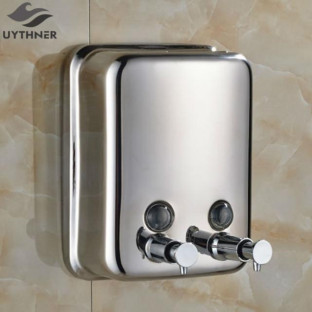 New Free Shipping Dual Heads Bathroom Liquid Soap Dispenser 1500ml Chrome Manual Lotion Shampoo Box