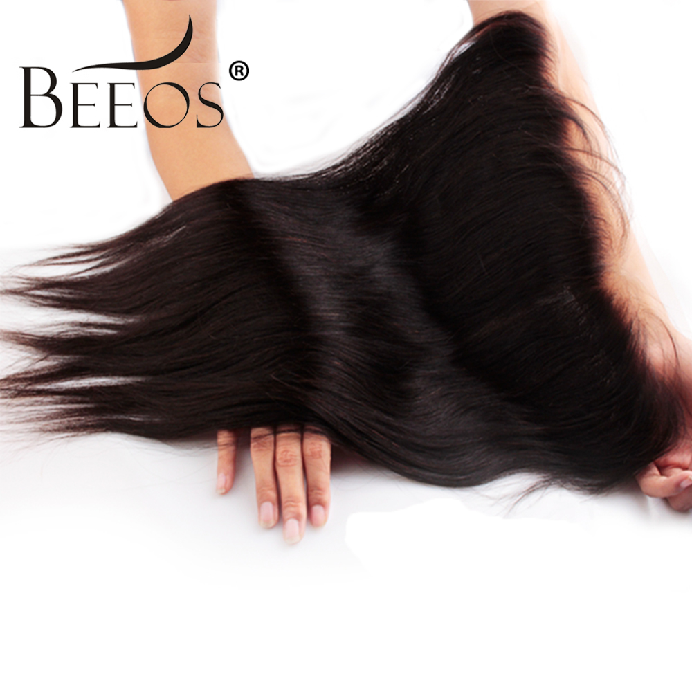 Beeos Peruvian Remy Straight Hair 13 4 Lace Frontal Closure With Baby Hair Pre Plucked Bleached