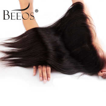 Beeos Peruvian Remy Straight Hair 13*4 Lace Frontal Closure With Baby Hair Pre Plucked Bleached Knots Ear To Ear Lace Closure - DISCOUNT ITEM  49% OFF All Category