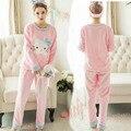 XXL Tamaño Grande de Franela Invierno de Las Mujeres Conjuntos de Pijama Pijama Mujer Más Tamaño Pijamas Pijamas Feminino Entero Rosa Pijama Pijama de Las Mujeres