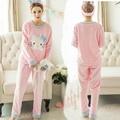 XXL Tamanho Grande Inverno Mulheres Pijama de Flanela Conjuntos de Pijama Pijama Entero Mujer Plus Size Pijamas Pijamas Feminino Rosa Pijamas Mulheres Pijama