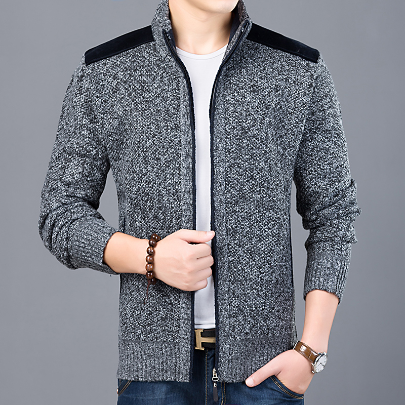 Image 4 - 2020 Thick New Fashion Brand Sweater For Mens Cardigan Slim Fit 