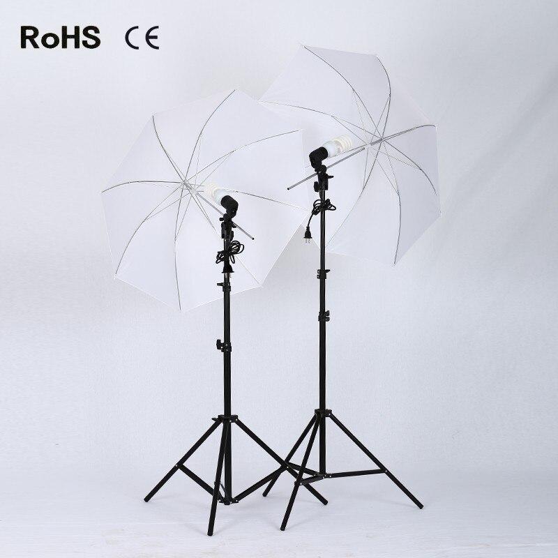 Photography Studio Set:2*33 inch/84cm soft umbrella&2*45W photography lights&2*E27 single lamp horlder socket&2*2m light stand