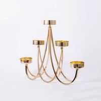 Роскошные подсвечники золотые свадебные основная часть канделябра Моро Lanterne металла центральные висит стенд золото домашний декор Z