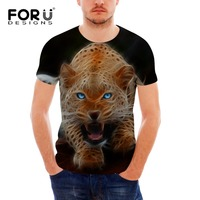 FORUDESIGNS Wholesale Novelty Lion 3D Short Black Sleeved Handsome Animal Shirt For Female Bodybuilding Clothes Plus Size S-XXL