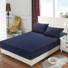 Drap-housse de matelas en coton, couleur unie, draps de lit avec bande élastique, Double, Queen Size