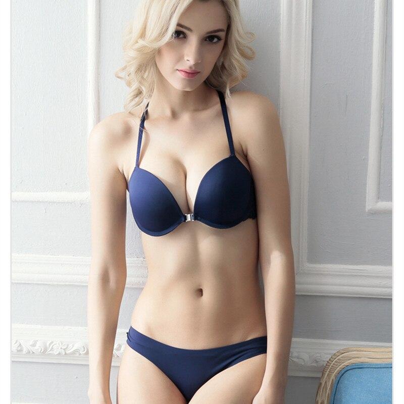 New sexy lace underwear panties push up front button exquisite Y shape shoulder tape   bra     set