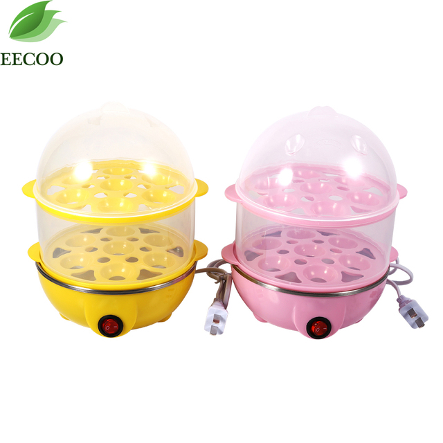 220V Double Layer Electric 14 Egg Boiler Egg Cooker Steamer Pan Kitchen Cooking Tools Utensil 350W yellow pink