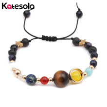 Фотография Adjustable Universe Galaxy Eight Planets Solar System Guardian Stars Natural Stones Beads Women Bracelets Bangles Drop Shipping