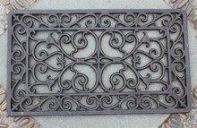 Decorativos de Hierro Forjado De Desplazamiento Puerta Felpudo Estera Al Aire Libre Jardín Rectangular, 33×57 cm Artesanía De Hierro Fundido Envío Libre
