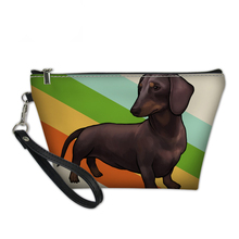 NOISYDESIGNS Printed Cosmetic Bag Women Makeup Bag Dachshund Dog Print Cosmetic Bag Cute Dog Necessaire Feminina Travel Pouch недорого