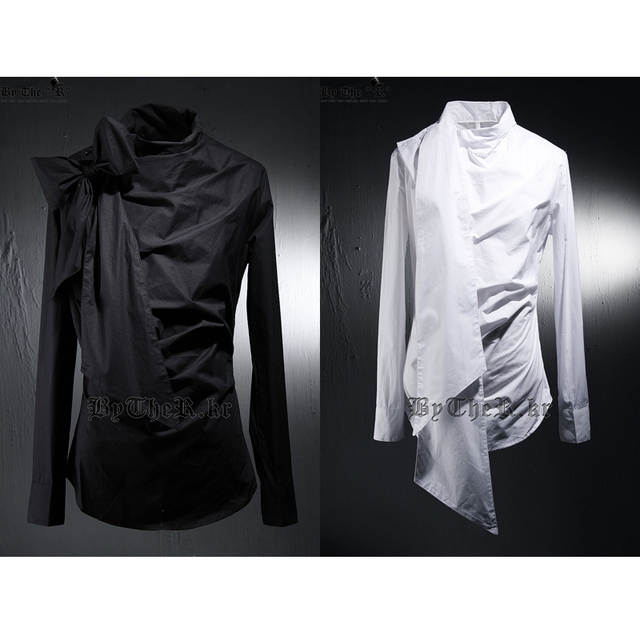44b64ca97 S 5XL 2018 men's new fashion slim Male royal neckline bow long sleeve shirt  slim shirt costume stage singer costumes clothing-in Casual Shirts from  Men's ...