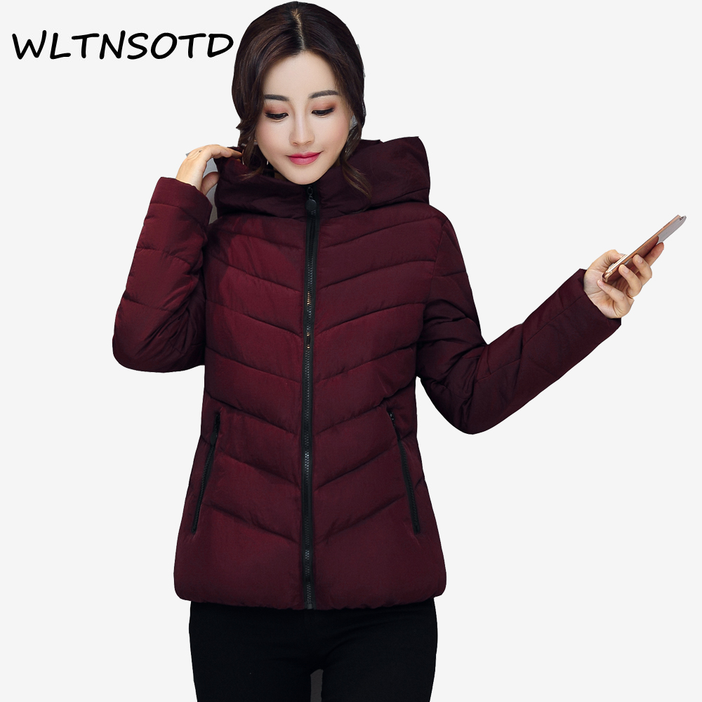 2017 new winter cotton jacket women short Slim Solid  hooded warm coat Female fashion zipper thick Parkas 2017 new women winter coat long quilted jacket thick warm solid color cotton parkas female slim hooded zipper outwear okb88