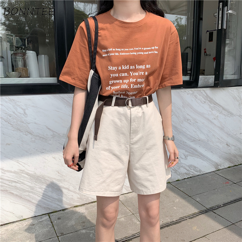 Shorts Women 2019 Summer New Korean Version Loose All-match Trendy Simple Daily Solid Pockets Button Casual Womens Ladies New