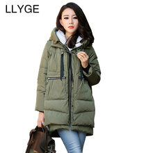 LLYGE Mid-Long Winter Jacket Hooded Cotton Padded Coat Outwear Women Thickening Warm Oversized Parka Chaquetas Mujer Plus Size