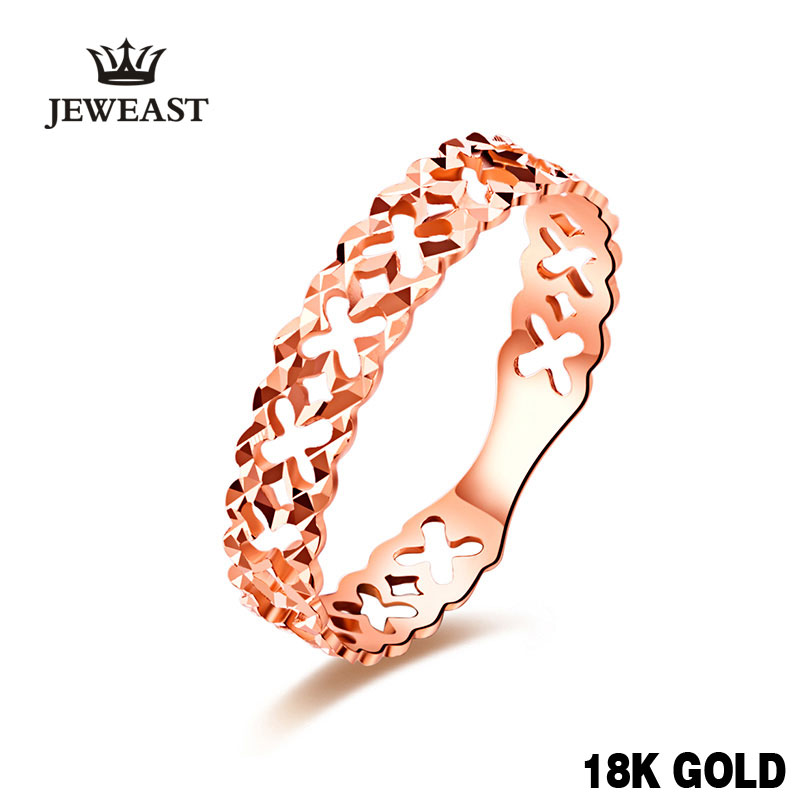 18k Rose Gold Cut Ring For Women Hollow Design Party Jewelry Engagement Rings Exquisite Elegant Female Customizable Trendy Good laconic and elegant two pieces of leaves design rings for female