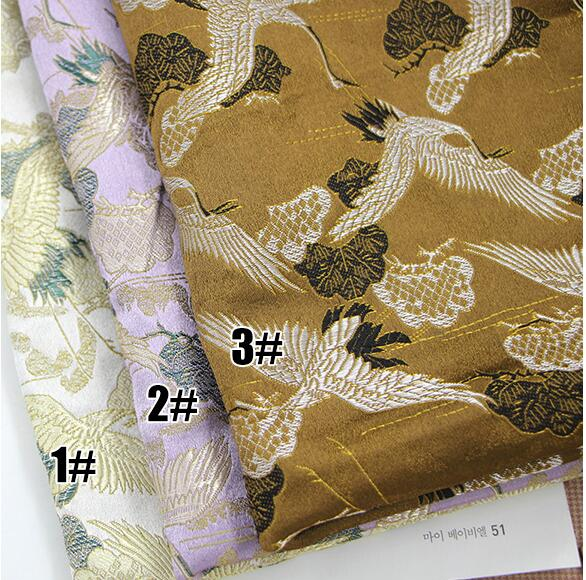 quilting fabric pillow curtain fabric Imitation silk quality brocade fabrics for cheongsam Cranes pattern W012 in Fabric from Home Garden