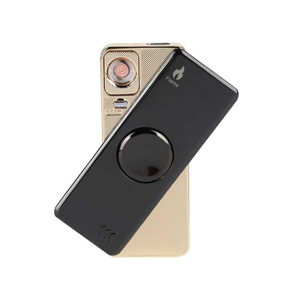 Electronic Rechargeable USB Cigarette Lighter Hand Spinner Wire Lighter Light Flash Flameless Lighter Intelligent Charging