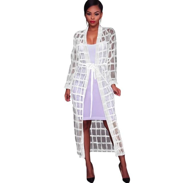 76709c7621 Sexy Women Mesh Maxi Beach Cover Ups Crochet Lace Bandage Long Sleeve Long  Beach Cardigan Swimwear Black White Playa Mujer 2019