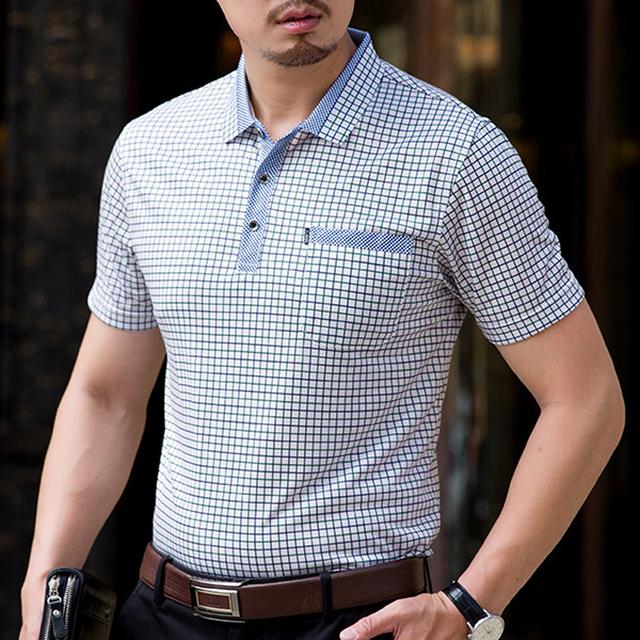 113ab92105b Thoshine Brand Men Summer Polo Shirts 95% Viscose Business Style Male Plaid  Dot Polo shirt Smart Causal Camisa Turn-Down Collar