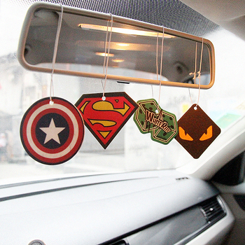 2pcs Truck Car Hanging Perfumed Fragrance Papers For Hero Air Freshener Car Perfume  Air Freshener Captain America Superman