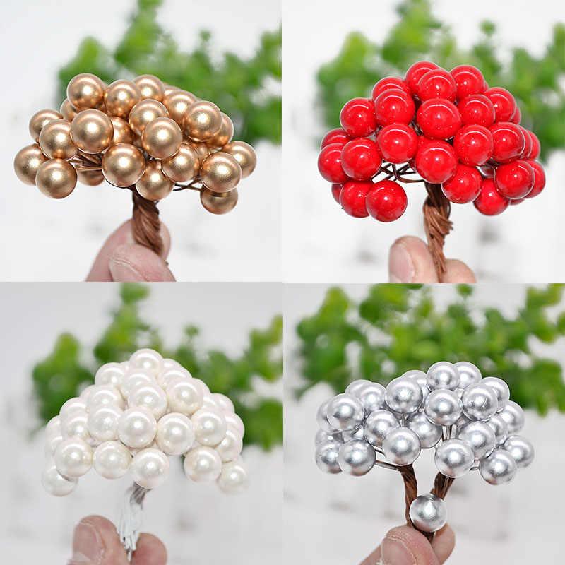 50 Pcs/lot 1 cm Mini fleur artificielle étamines de fruits noël en plastique perle baies pour mariage bricolage boîte cadeau couronnes décorées