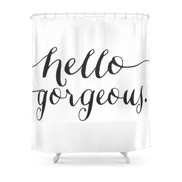 Hello Gorgeous Typographic Print Shower Curtain Waterproof Polyester Fabric Bathroom Decor Multi Size Printed