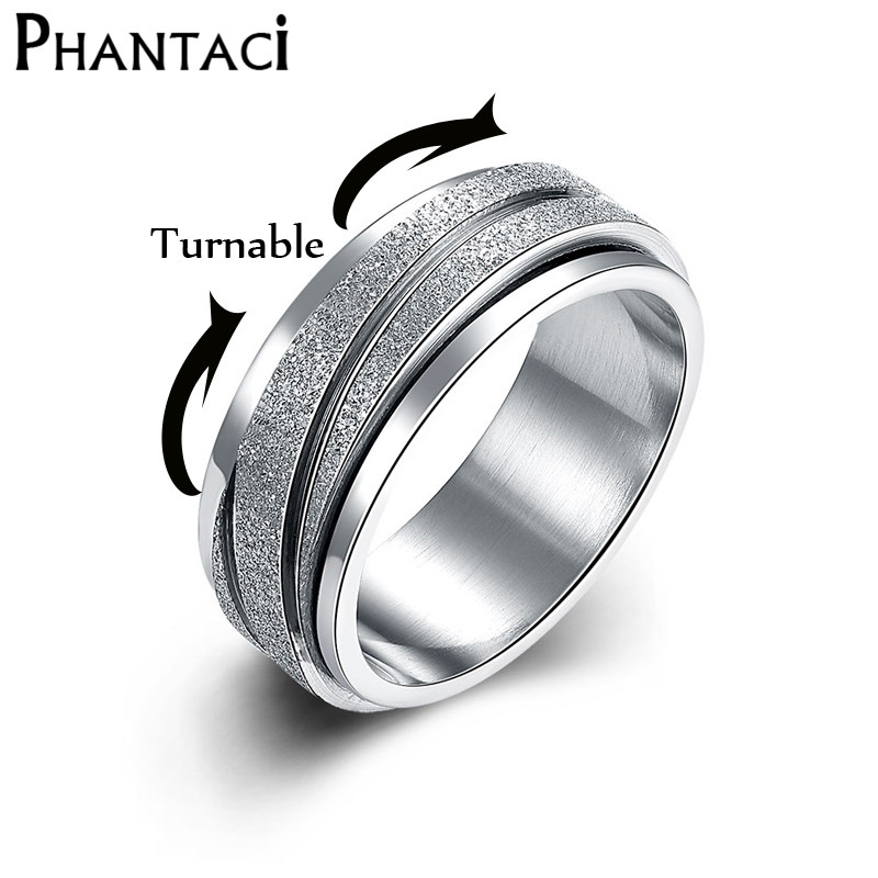 Spinner Fashion High Quality Stainless Steel Punk Ring Jewelry For Men Women Silver Color Anniversary Ring Wholesale