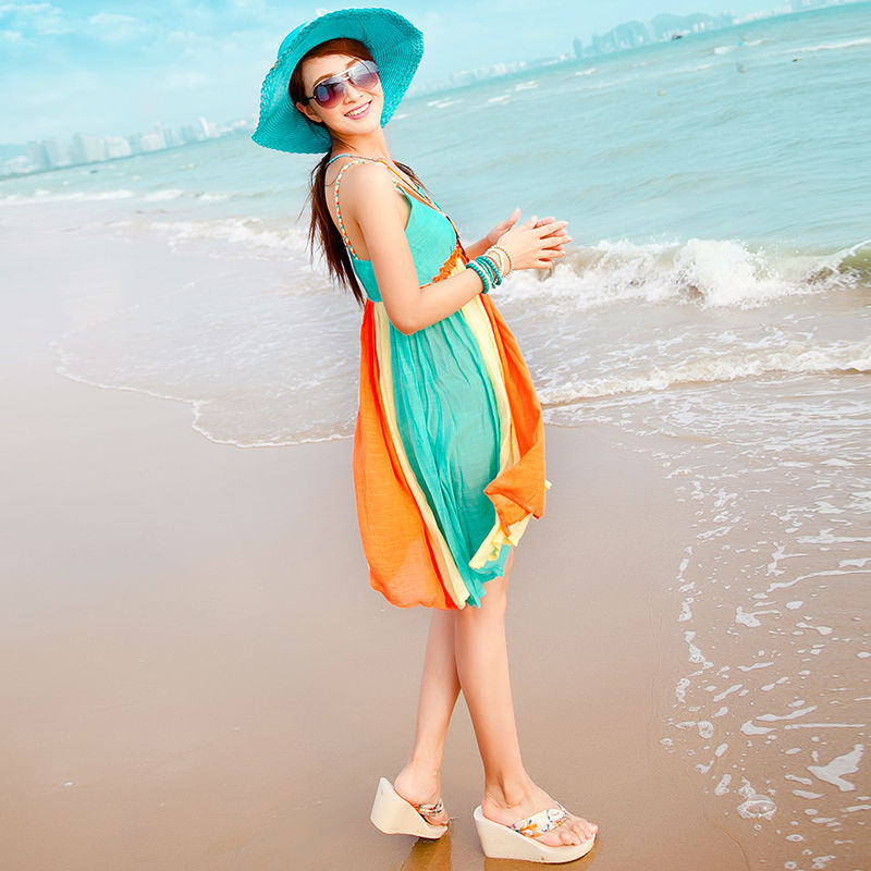 90bd93a30c family look Colorful Vestidos Dresses Fashion Family Clothing Summer Beach  Vacation bohemian mathcing mother daughter Dresses-in Matching Family  Outfits ...