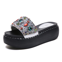 Summer Casual Wedges Slippers 2019 New Women Rhinestone Flat With Platform Slippers Casual Flip Flops