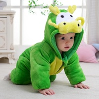 Green Dragon Costumes Baby Boy Romper Newborn Winter Outfit Clothes Toddler Jumpsuits Fleece Hooded Jacket Children Overall Soft