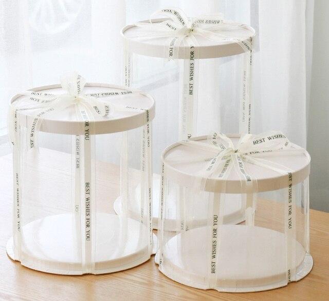 ラウンドケーキボックスクリア円筒パターン透明tårtask花ギフト防塵展示収納ボックス