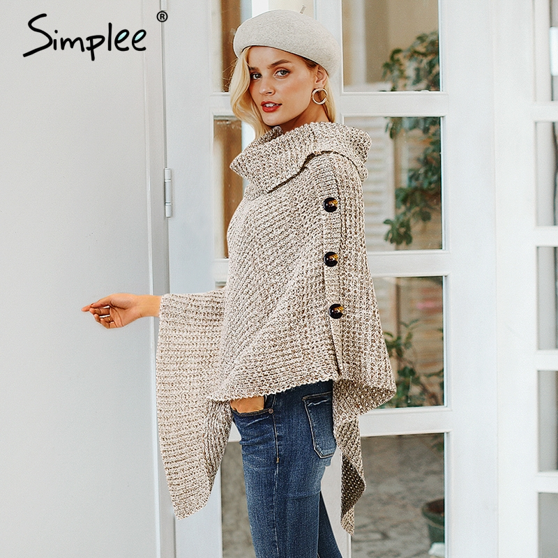 Turtleneck Knitted Casual Cloak Pullover