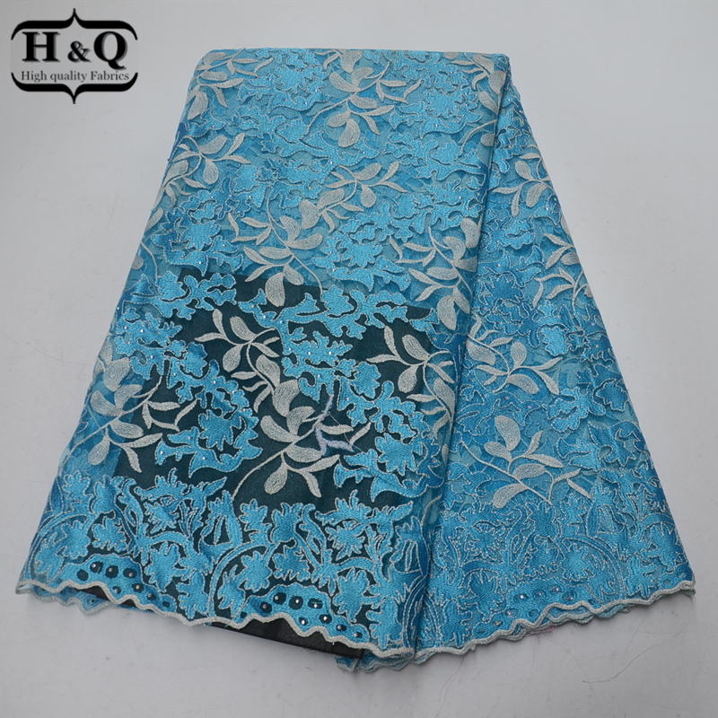 Sky Blue African Lace Fabric French Mesh Lace With Stone Embroidered Tulle Lace High Quality Nigeria Guipure Lace For WeddingSky Blue African Lace Fabric French Mesh Lace With Stone Embroidered Tulle Lace High Quality Nigeria Guipure Lace For Wedding