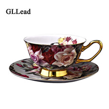 GLLead Creative Rose Flower Bone China Porcelain Coffee Cup And Saucer Gold-Rimmed Floral Ceramic Teacup Afternoon Tea Cups Sets