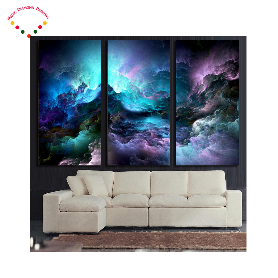 Back To Search Resultshome & Garden 3pcs,diy Diamond Painting Abstract Psychedelic Nebula Space Mosaic Painting Home Decoration Hand Work With Diamond Embroidery