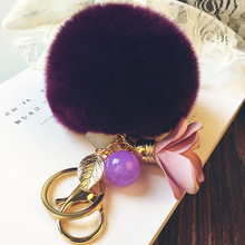 Fluffy Pom rEX rabbit real fur keychain ball puff bag charm keyring Key chains DIY pendant leaf fabric flower Ornament