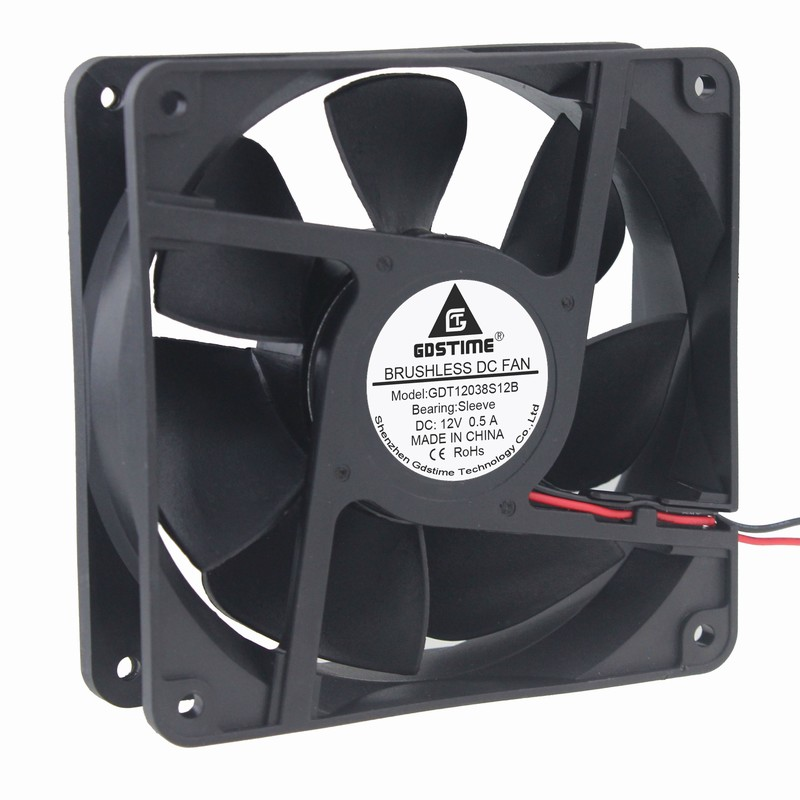 1 piece Gdstime Big Airflow Fan 12V 2 Pin DC Brushless Cooling Fan 120mm x 120mm x 38mm 12038 New computer water cooling fan delta pfc1212de 12038 12v 3a 12cm strong breeze big air volume violent fan