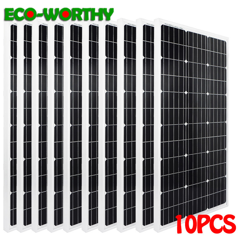 mono 1000W monocrystalline solar power panels 10x100W 18V solar power panel 1KW charge for 12V battery