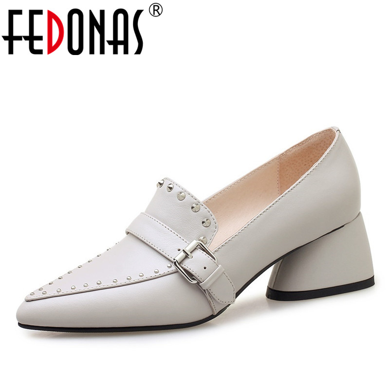 FEDONAS 2019 Women New Sexy Women Stiletto High Heels Rivets Wedding Party Shoes Woman Buckles Slip-on Prom Night Club Pumps women sexy prom night club black