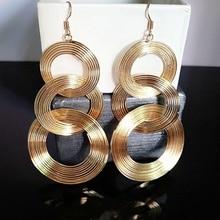 2 Pairs Fashion Tassel Long Earrings Women Multilayer Circle Dangle