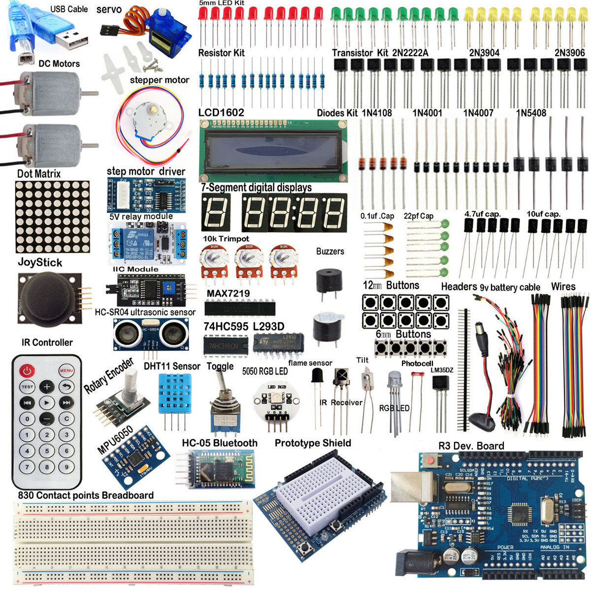 UNO R3 Starter Kits 1602 LCD Módulo de Relé MPU6050 HC-05 Placa bluetooth Para Arduino