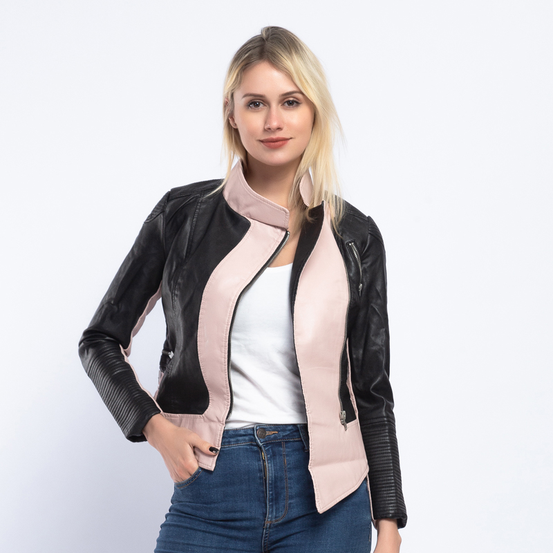 Brand Hit Color   Leather   Jacket Women 2019 Spring New Design Chic PU Faux   Leather   Coat Women Autumn Biker Jacket Streetwear AO908